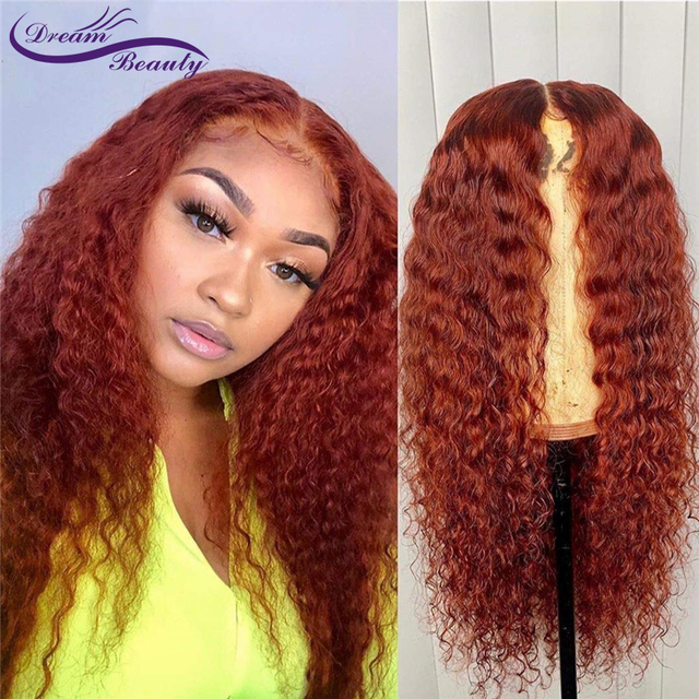 Ginger Orange Color Curly Lace Front Human Hair Wigs Baby Hair 13x6 Deep Part Red Brazilian Remy Hair Lace Wigs Dream Beauty