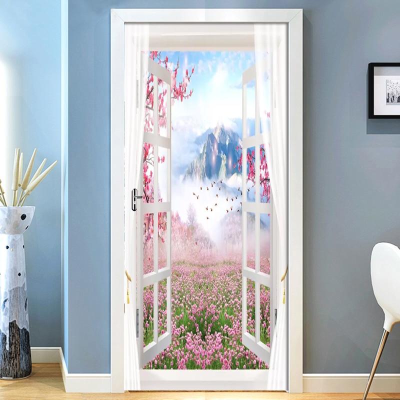 Купить 3d настенная наклейка на дверь декорации снаружи окна обои для