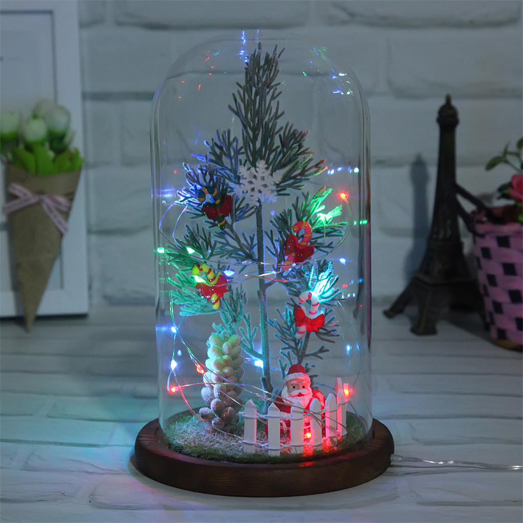 christmas decorations for home Miniature Christmas Tree in Glass Dome Ornaments & Presents With Light String adornos de navidad