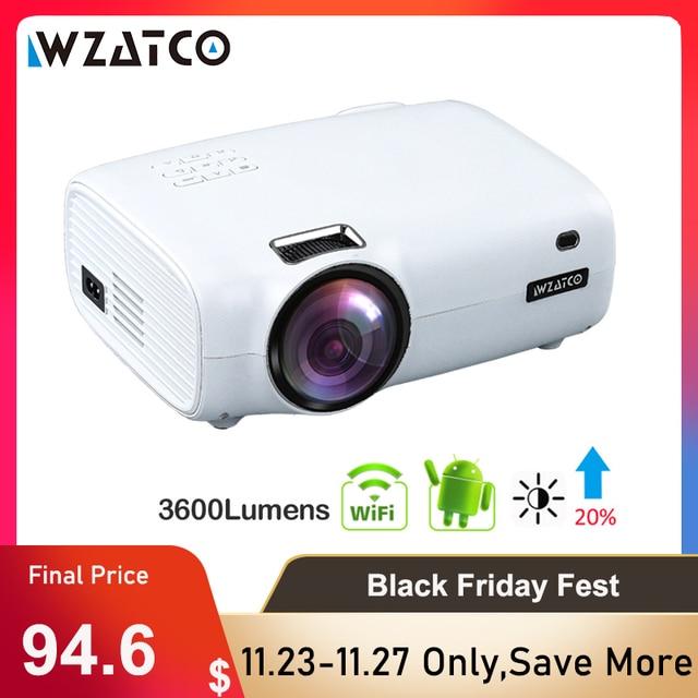 WZATCO E600 Android 10.0 Wifiสมาร์ทแบบพกพามินิโปรเจคเตอร์LEDสนับสนุนFull HD 1080P 4K AC3วิดีโอtheater Beamer Proyector