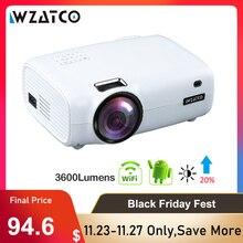 WZATCO E600 Android 10.0 Wifi akıllı taşınabilir Mini LED projektör desteği Full HD 1080p 4K AC3 Video ev sineması beamer Proyector