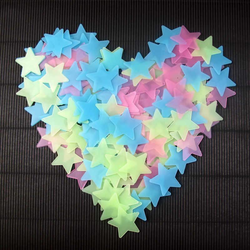 50 قطعة/المجموعة 3D نجوم الوهج في الظلام مضيئة على الجدار ملصق للأطفال غرفة المعيشة ديكورات للحائط الديكورات المنزلية توهج عصا