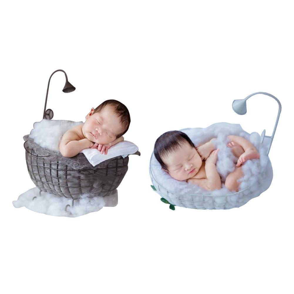 Newborn Baby Photography Props Iron Basket Shower Bathtub Sleeping Bed Photography Accessories Shooting Photo Posing Props