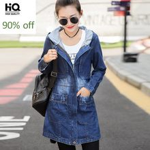 Autumn Hooded Women Jacket Loose Fit Long Style Preppy Denim Female Outwear Coat Zipper Washed Scratch Jeans Casaco Feminino(China)