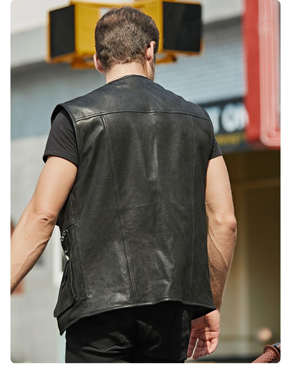 H1f1885bb50c54f82b8ffc7ebb10e21e3s FLAVOR New Men's Real Leather Vest Men's Motorcycle Fishing Outdoor Travel Vests