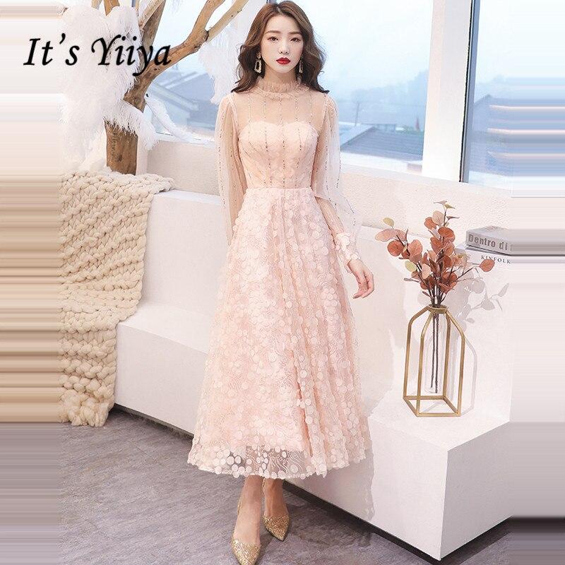 It's Yiiya Prom Dresses Long Sleeve Elegant Vestidos De Gala 2020 Sequins Tea Length Plus Size Dress Women Party Night LF083