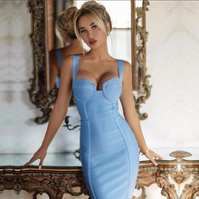 Adyce 2019 New Summer Bodycon Bandage Dress Women Sexy Blue Spaghetti Strap Vestidos Deep V Mini Celebrity Evening Party Dresses