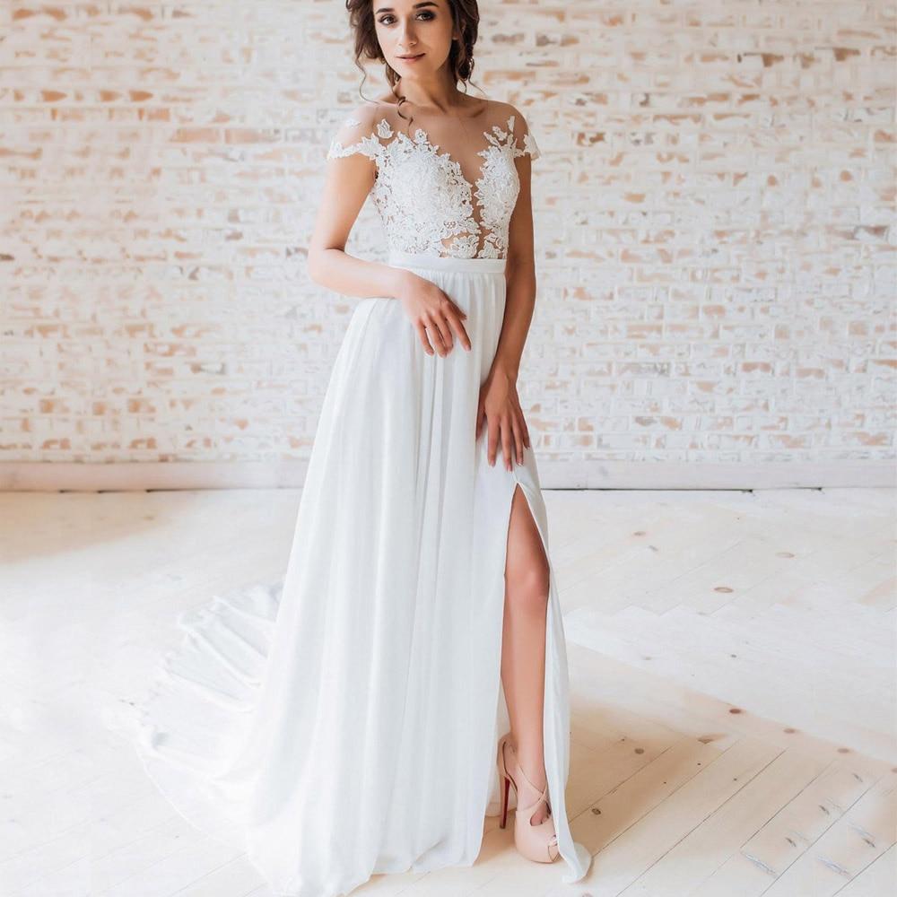 Closeout DealsWedding-Dress Bohemian Sleeve Lace Boho Plus-Size Beach Vestidos-De-Noiva Chiffon Cap