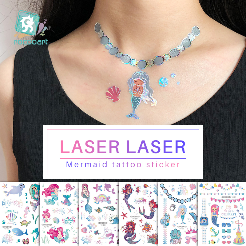 Rocooart Laser Tattoo Sticker Glitter Mermaid Tatoo For Women Makeup Taty Body Art Fake Tattoo Necklace Waterproof Flash Tatto