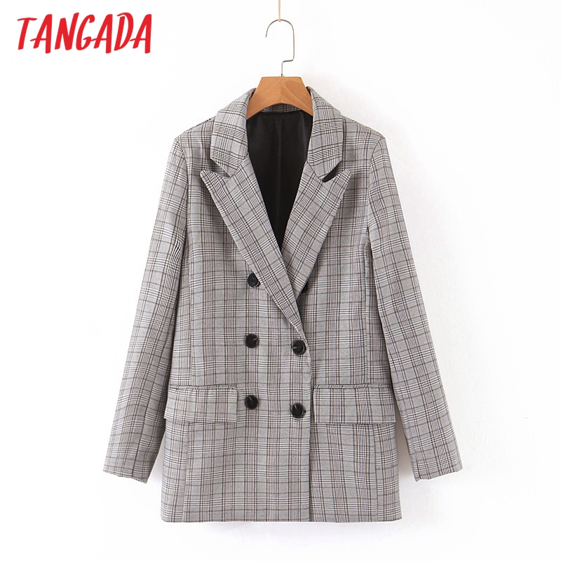 Tangada Fashion Women Plaid Print Blazer Long Sleeve Korea Style Female Blazer Office Ladies New Arrival Outwear QB09