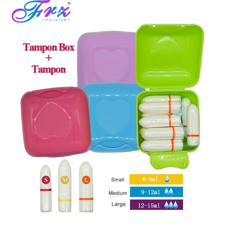 10pcs/box Sanitary tampons with Portable travel tampon box similar Menstrual Cup vagina sanitary pads