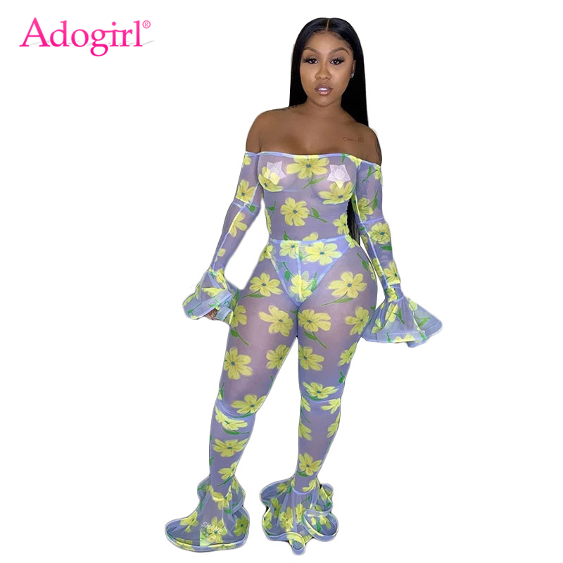 Adogirl Floral Print Sheer Mesh Women Sexy Jumpsuits Slash Neck Off Shoulder Flare Sleeve Foot Cut Pants Night Club   Rompers