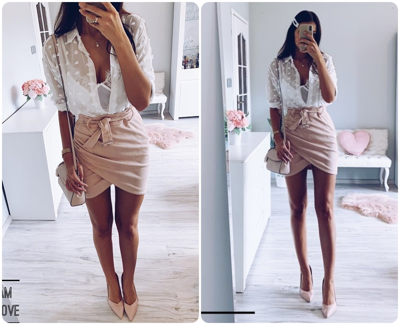 Affogatoo High waist suede leather skirts 18 Autumn winter belt ruched bodycon skirt Women asymmetric short skirts female 9