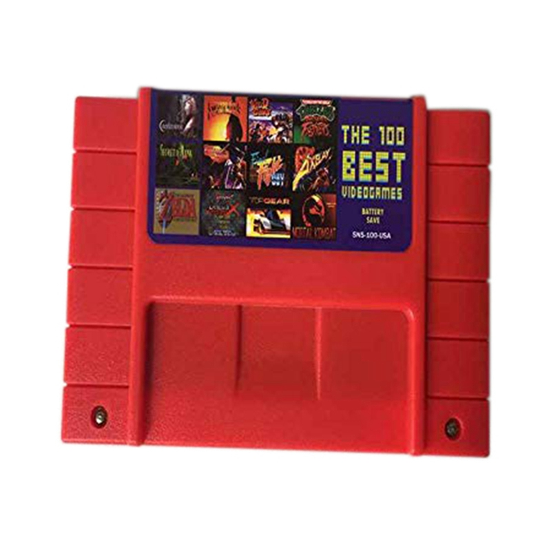 For SFC/SNES Super Game Card Snes Game Card 100 In One Red Shell Snes Cartridge