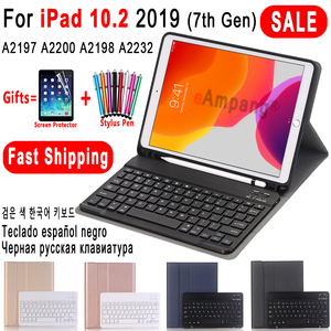 Case for iPad 10.2 Keyboard Case with Pencil Holder for Apple iPad 7 7th Generation A2197 A2198 Russian Spanish English Keyboard(China)