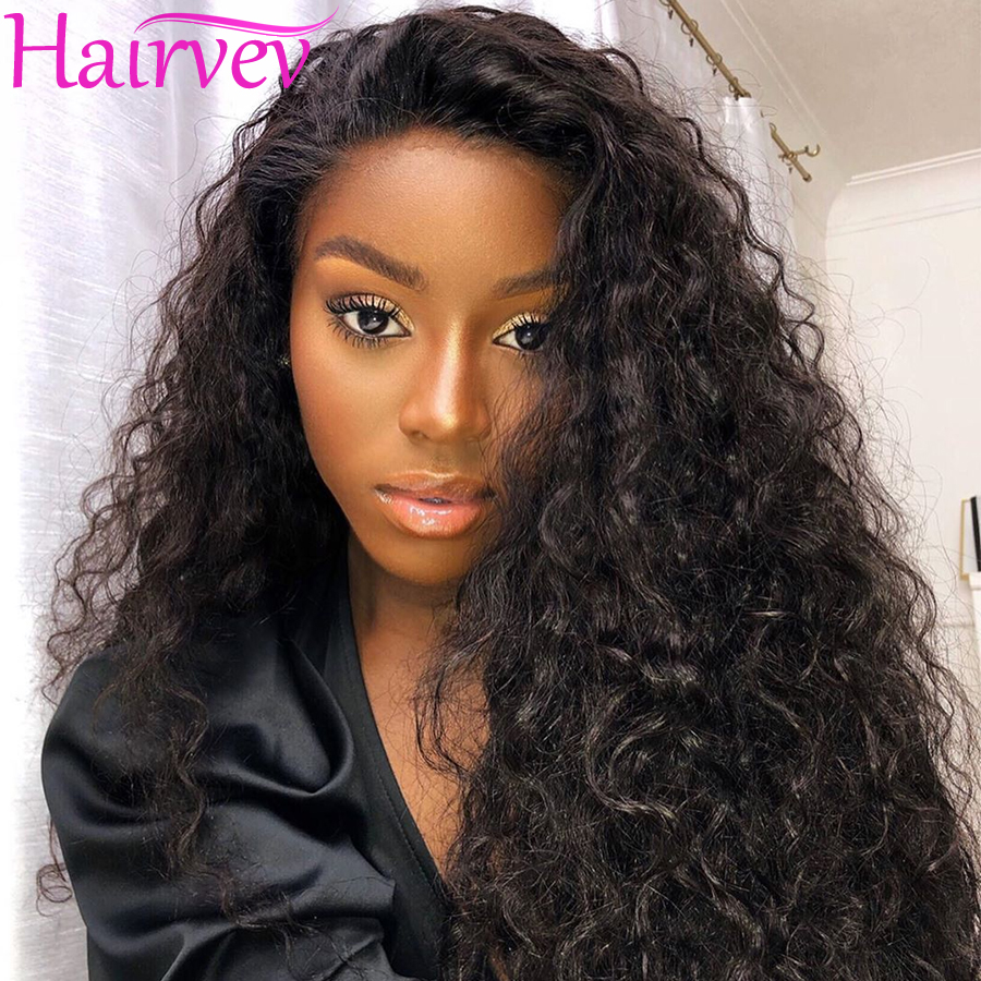 Hairvev 13*4 Lace Front Human Hair Wigs 150% Density Kinky Curly Wigs Malaysia Lace Front Wigs For Black Women Remy Hair Wigs