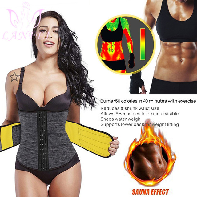 LANFEI Neoprene Sweat Waist Trainer Belt Women Weight Lose Body Shaper Sauna Slimming Strap Tummy Control Fat Burn Girdle Corset 1