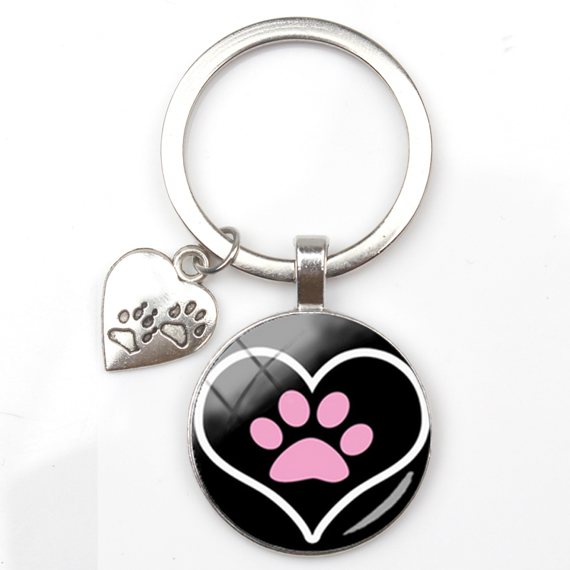 New Love Pendant Keychain Paw Print Key Ring Dog Couple Silver Plated Keychain To Friends Christmas Gifts for Friends