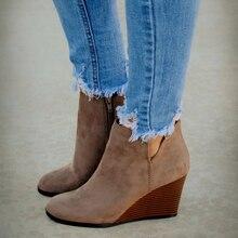 Women Boots Women Ankle Boots Wedges Platform Autumn Female High Heel Zipper