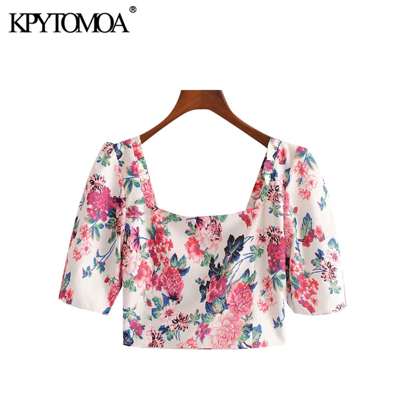 KPYTOMOA Women 2020 Chic Fashion Floral Print Cropped Blouses Vintage Puff Sleeve Side Zipper Female Shirts Blusas Chic Tops