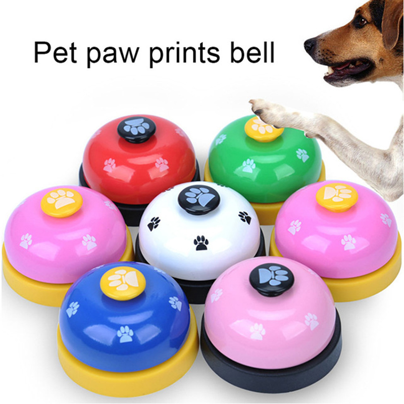6 Colors Pet Training Bell Dog Ball-Shape Paws Printed Meal Feeding Educational Toy Puppy Interactive Training Tool Supplies-0