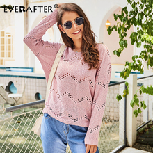 EVERAFTER Elegant pink knitted women pullover sweater O-neck long sleeve sexy hollow out sweaters tops autumn winter jumper 2019