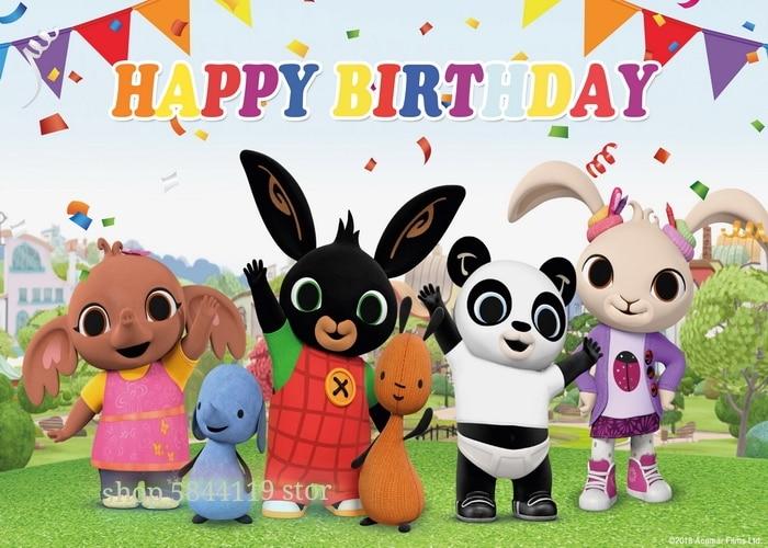 Новый фон для дня рождения с изображением мультяшного кролика, фотопостер с изображением персонажа из мультфильма, настенное украшение для...
