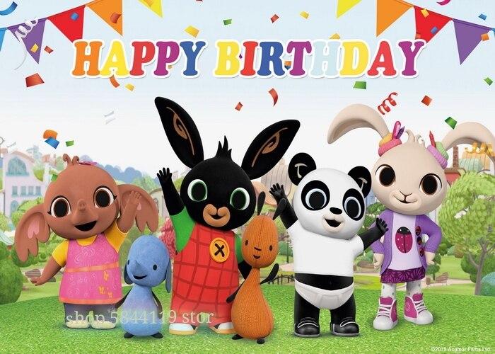 Novo bing coelho fundo de aniversário pano desenho animado personagem foto poster festa decoração da parede das crianças presente de aniversário