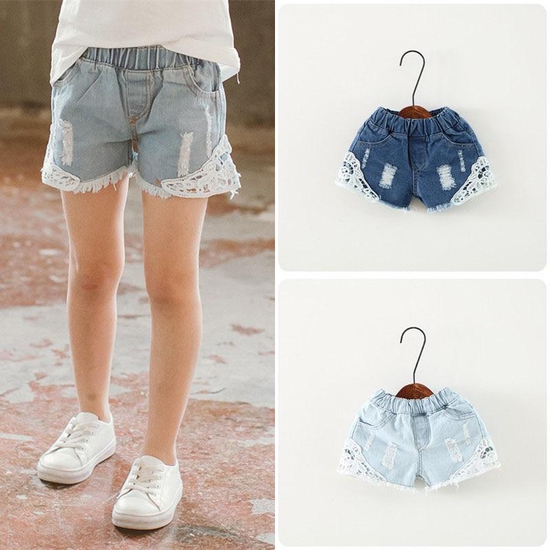 Girls Lace Ripped Jean Shorts New Summer Kids Pants Korean Girl Cute Denim Short 2-12Years Children Pocket Shorts Baby Clothes