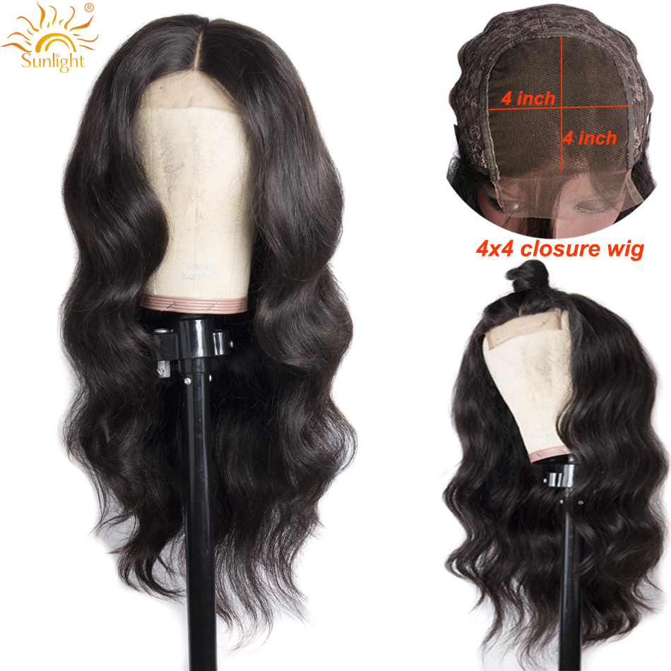 4x4 Closure Wigs Brazilian Body Lace Closure Human Hair Wigs Sunlight Pre Plucked Hairline Remy Hair Closure Wig For Black Women