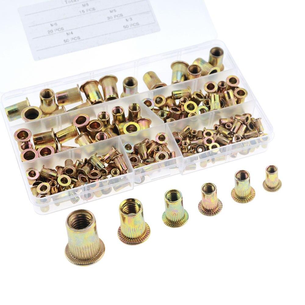 165PCS/BOX M3 M4 M5 M6 M8 Pull Rivet Nut Mixed Zinc Plated Carbon Steel Rivet Nut Threaded Insert Nut Set