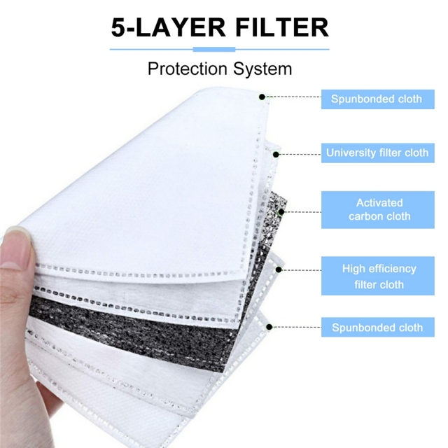Useful Face Mask 5 Layers Filter PM2.5 Face Mask Filter Pad Activated Carbon Breathing Mask Filters Mat For Adult Children 3