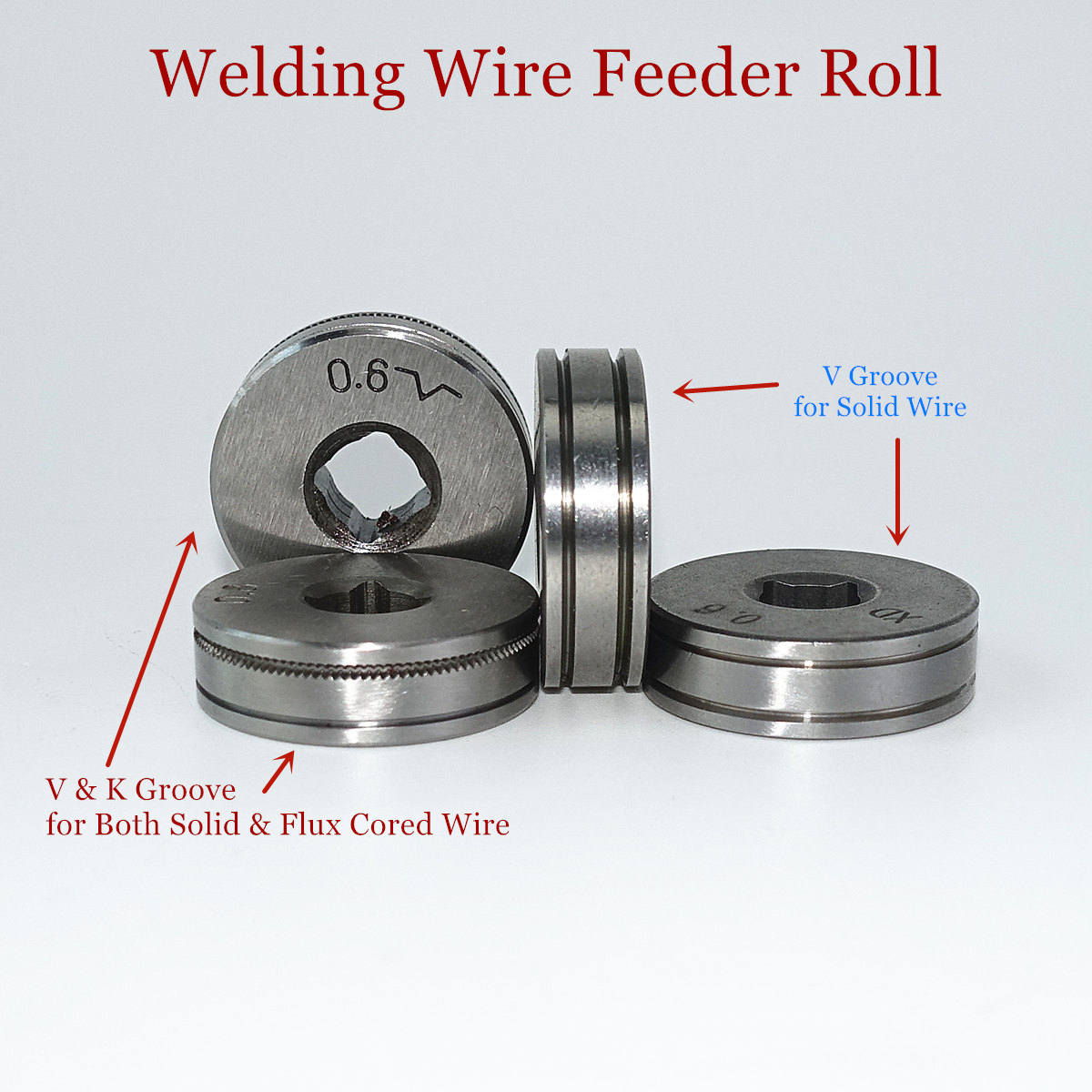 Welding Wire Feeding Roll V K Knurl Groove 0.6mm 0.8mm 0.9mm 1.0mm Solid Steel Flux Cored Wire For SSJ-16 Mini Wire Feeder