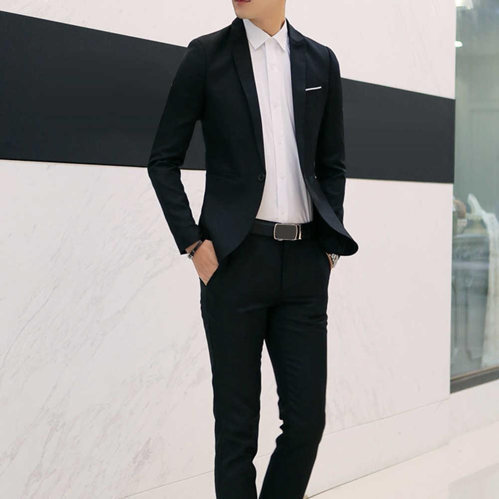 新しい男性のウェディングウェディングスーツカーキ白黒スリムフィットタキシード男性フォーマルビジネス костюм 作業服スーツ 2 個 2019 ホット販売