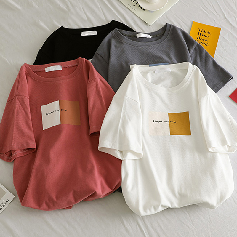 DAYIFUN 2020 Summer T Shirt Women 2020 Letter Printed Female White Tee Tops O-Neck Oversize Tees Short Sleeve Femme Shirt C142