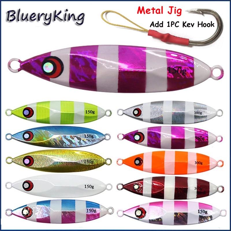 BlueKim 40g/60g/80g/100g/150g/200g VIB Metal Jig Fishing Lead Jigging Lures Metal Slow Sinkers Hard Bait Kevlar Line Fish Hooks