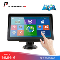 AMPrime Touch Screen Car Monitor GPS Navigation Navigator With Free Maps Built in 8GB ROM FM Radio MP3 MP4 Automobil Vehicle