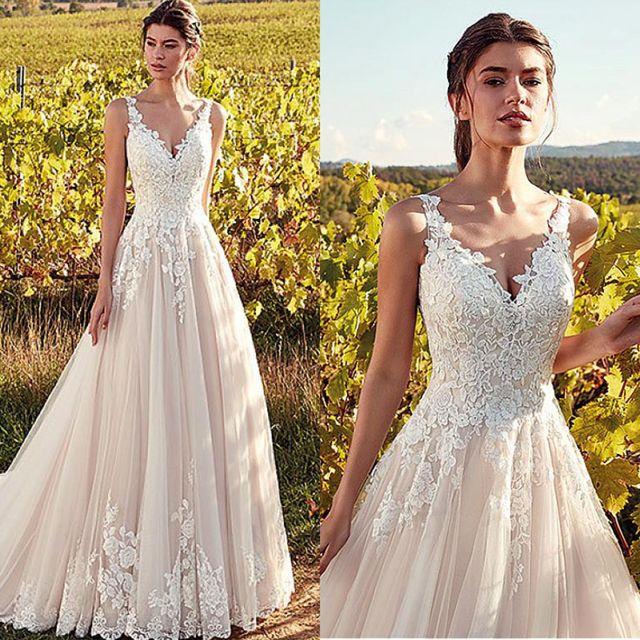 Classic V-Neck Wedding Dresses Champagne A-line Appliques Floor Length Vestidos De Noiva 2020 Bridal Dresses 1