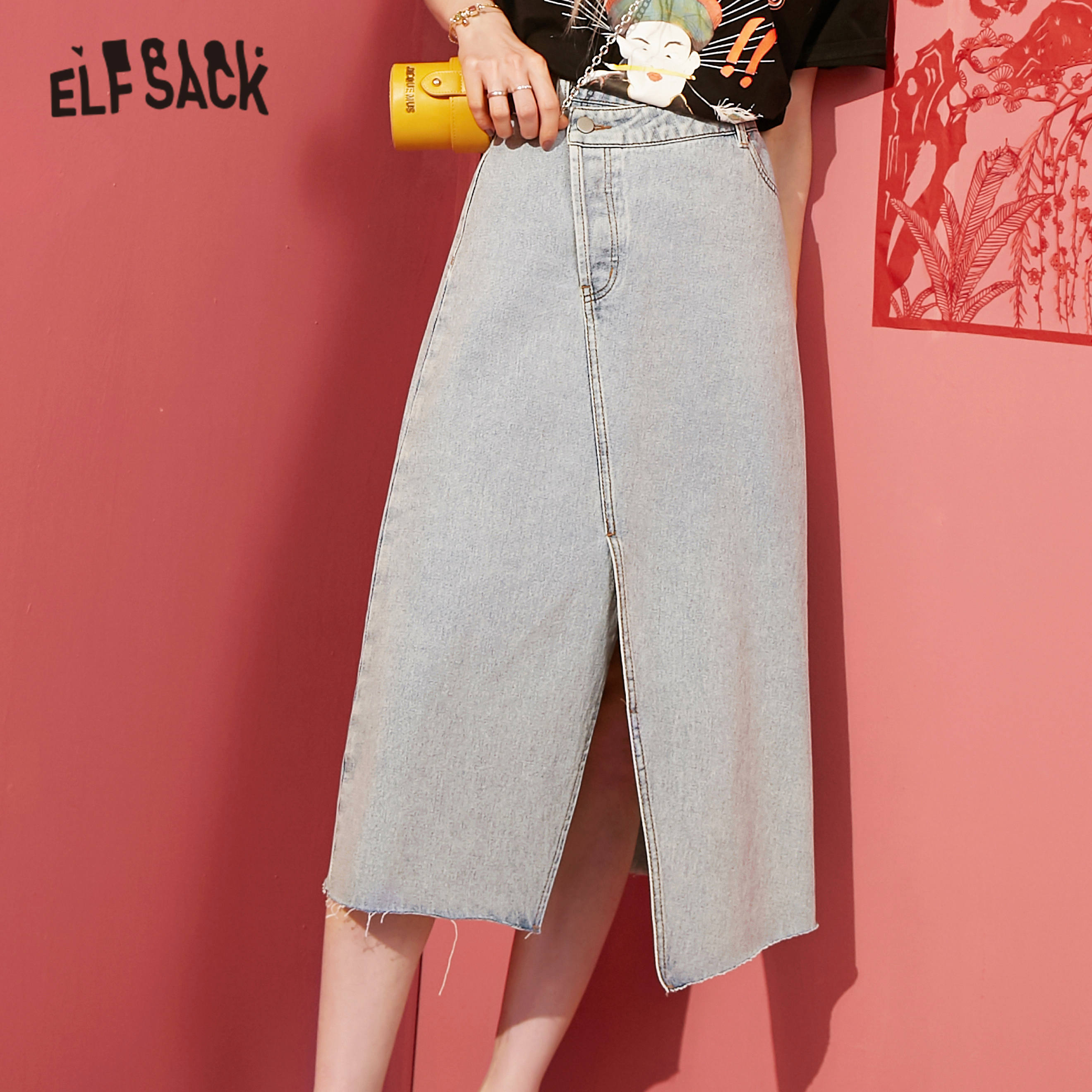 ELFSACK Blue Solid Irregular Hem Casual Women Long Skirts 2020 Spring New Elegant High Waist Korean Ladies Daily Denim Skirt
