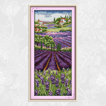 Joy Sunday Lavender Grassland Cross-stitch Embroidery kits,DIY Handwork Cross Stitch,Enough Thread for