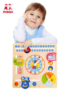 Toy Calendar Clock Learning-Toy Weather Chart Hanging Wooden Multifunction Early-Educational