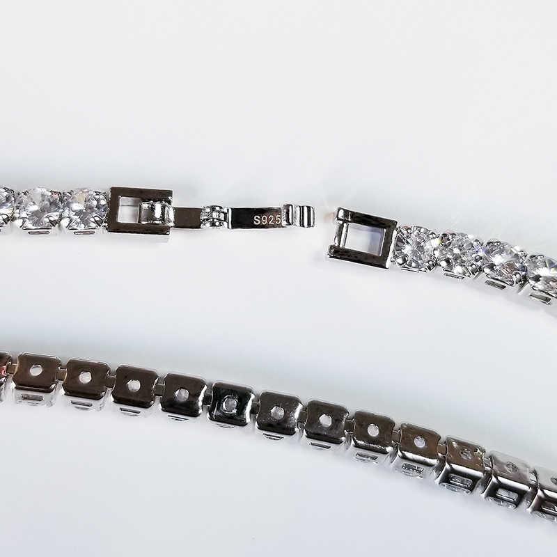 Solidna 925 sterling silver 4mm 18cm CZ bransoletka tenisowa bransoletka dla kobiet biżuteria ślubna hurtownia party prezent S4777