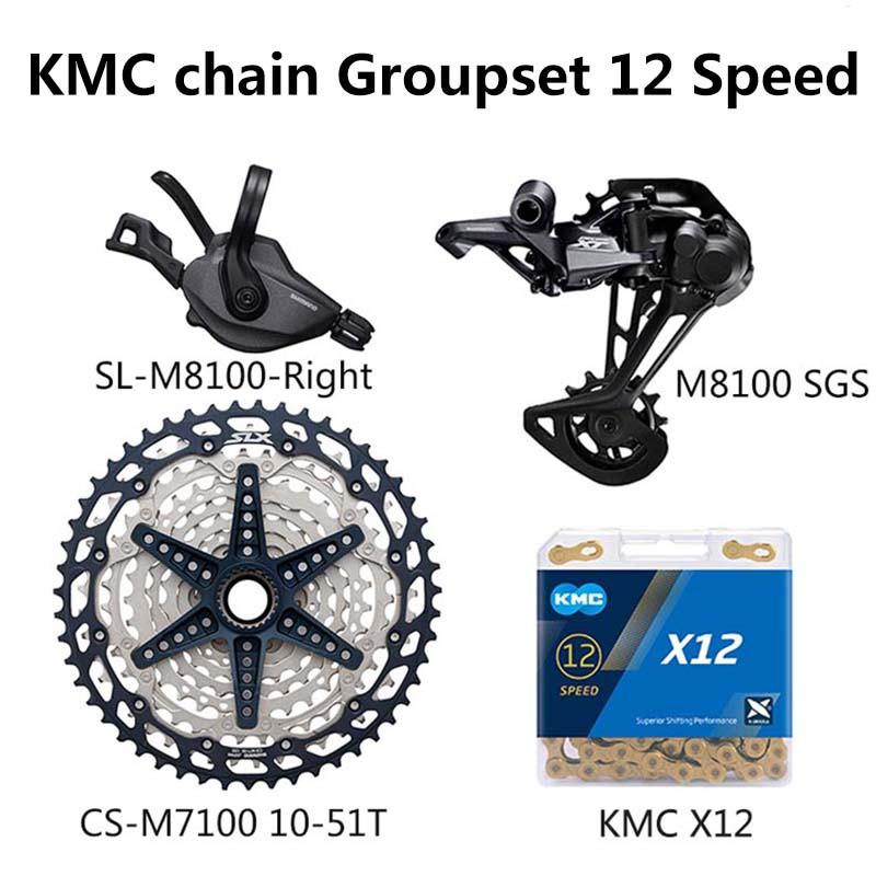 Shimano DEORE XT M8100 12 Speed Groupset MTB Mountain Bike 1x12-Speed Shifter Lever Rear Derailleur CS-M7100 Cassette KMC Chain image
