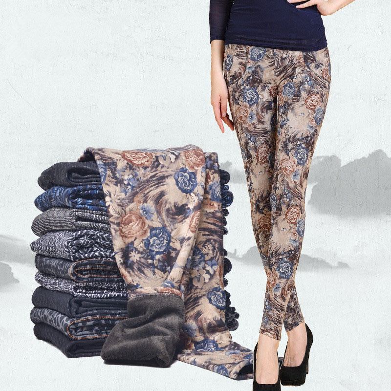 Autumn Winter Style Plus Velvet Warm   leggings   Women Plus size Printing Flowers thick women's pants Black Casual Women   Leggings