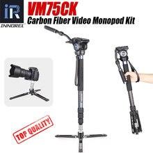 Vm75ck углеродное волокно Видео монопод Комплект с жидкостной