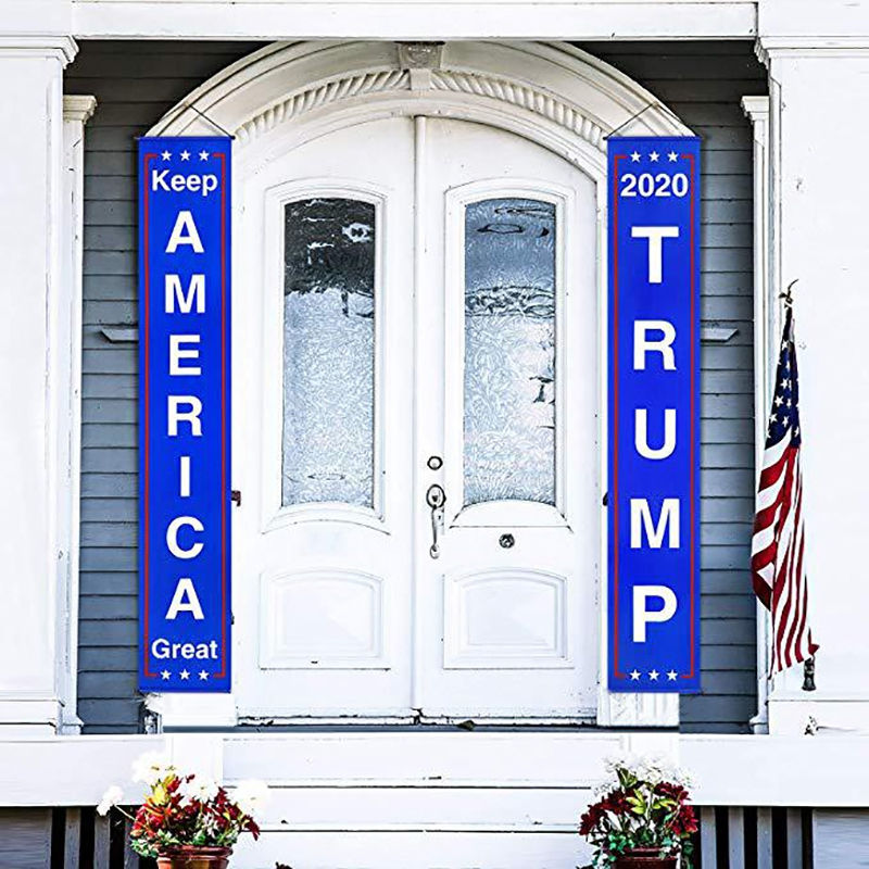 Donald <font><b>Trump</b></font> Flag Banner Keep America Great Flag Porch Sign For President <font><b>2020</b></font> Hanging Garland America Party Decoration image