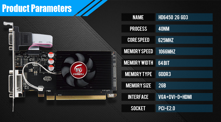 Original GPU Veined Graphics Cards With 625 MHZ Core Speed For ATI Radeon Gaming 6