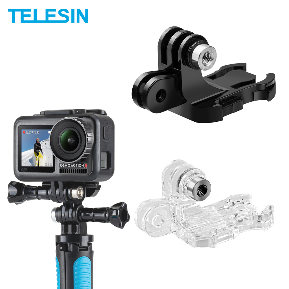 TELESIN Double-headed J-Hook Quick Release Bracket Mount For GoPro For Xiaomi Yi 4K For DJI Osmo Action SJCAM Camera Accessories