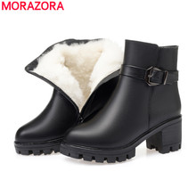 MORAZORA 2020 new high heels platform shoes women ankle boots genuine leather wool boots keep warm winter snow booties female