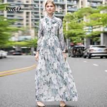 Runway Brand Design Women Party Clothes 2020 Summer New O-neck Long Sleeve Elegant Luxury Printing Elegant Long Bow Dress(China)
